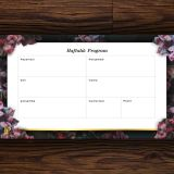 Venti Haftalık Program – Koyu Çiçekli Tasarım